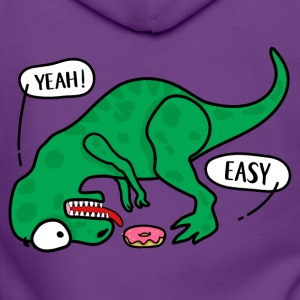 T-REX trying to eat a donuts T-shirt - Women's Premium Hooded Jacket