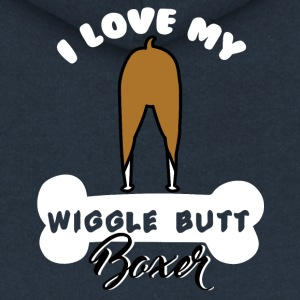 Dog / Boxer: I love my wiggle butt boxer - Women's Premium Hooded Jacket