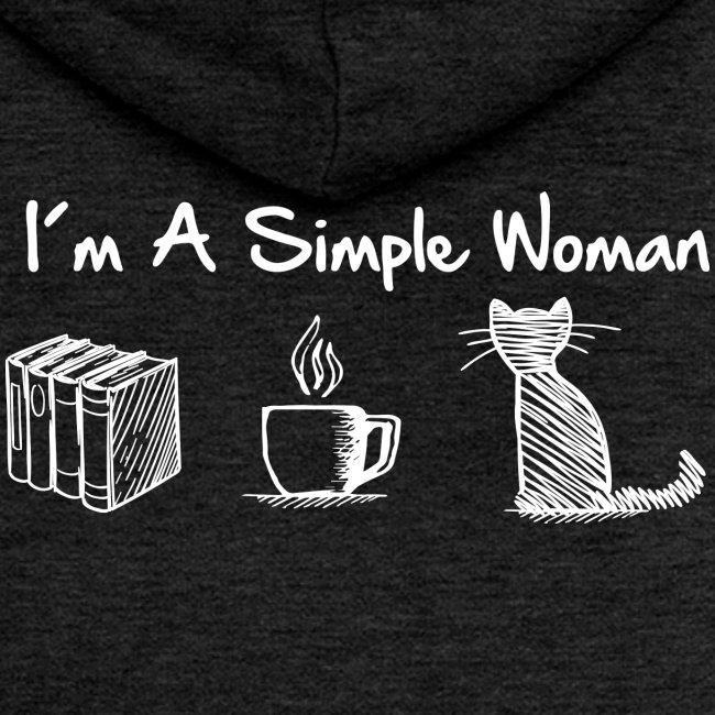 Vorschau: simple woman cat books - Frauen Premium Kapuzenjacke