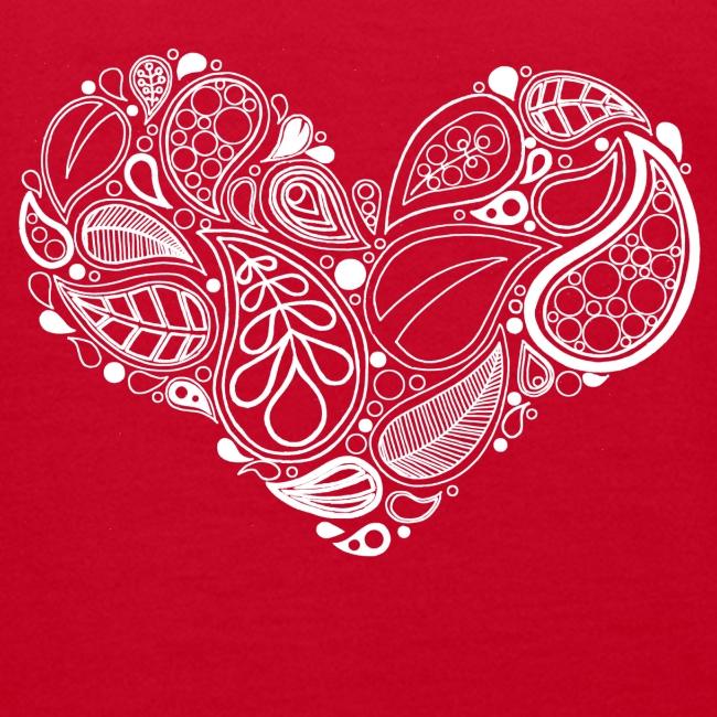White Leaf Heart Mandala