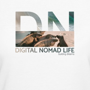 "Digital Nomad ""Iguana"" ~ Bianco Edition - T-shirt ecologica da donna"