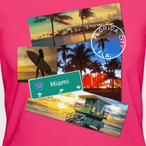 Miami Florida poster travel beach surf t shirt - Women's Organic T-shirt