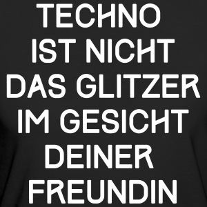 TECHNO T-Shirt - Glitzer Gesicht Spruch / Text - Frauen Bio-T-Shirt