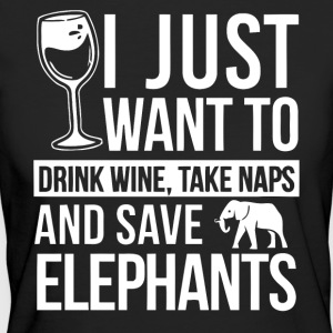 I just want to drink wine and save elephants shirt - Women's Organic T-shirt