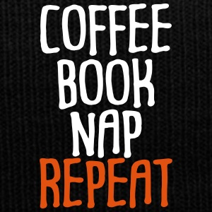 Coffee Book Nap Repeat Humor - Winter Hat