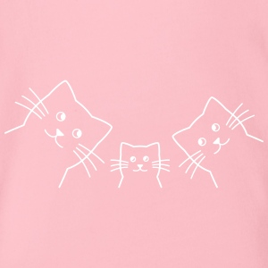 Cat family cats - Organic Short-sleeved Baby Bodysuit