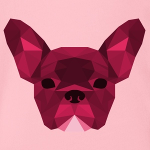 Low Poly Frenchie pink - Organic Short-sleeved Baby Bodysuit