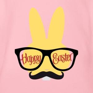 Easter Design with a Hipster Easter bunny - Organic Short-sleeved Baby Bodysuit
