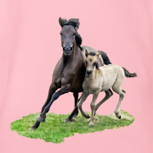 Dülmener Wild Horse mare with foal gallops - Organic Short-sleeved Baby Bodysuit
