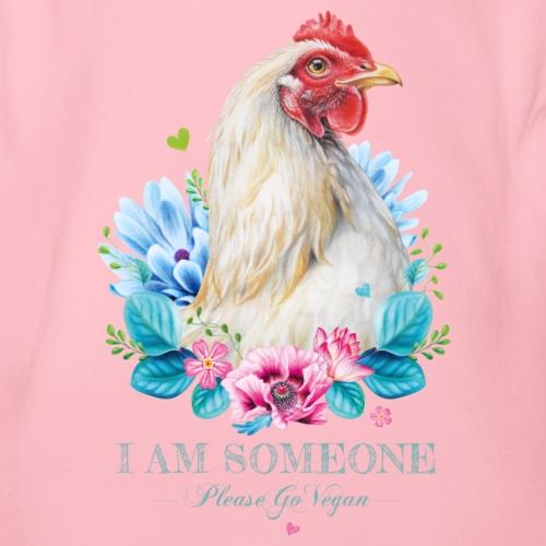 Hen with flowers - Organic Short-sleeved Baby Bodysuit