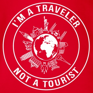 I'm a Traveler, Not a Tourist - Travel T-shirt - Organic Short-sleeved Baby Bodysuit