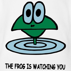 the frog is watching you - Organic Short-sleeved Baby Bodysuit