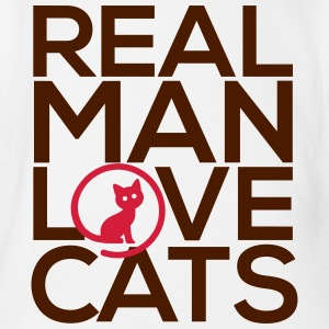 Real man love cats - Organic Short-sleeved Baby Bodysuit