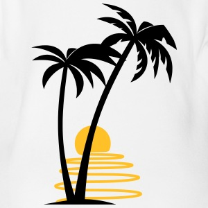 Palm trees with sun allround designs - Organic Short-sleeved Baby Bodysuit