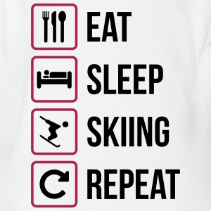 Eat Sleep Skidåkning Repeat - Ekologisk kortärmad babybody