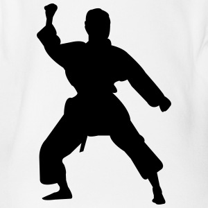 Kung fu fighter silhouette 5 - Organic Short-sleeved Baby Bodysuit