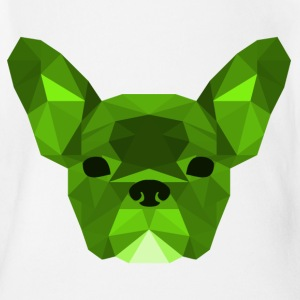 vert Low Poly Frenchie - Body bébé bio manches courtes