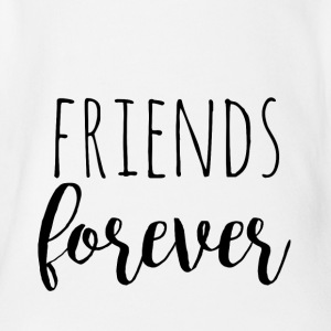 Friends Forever - sort design for tvillinger - Økologisk kortermet baby-body