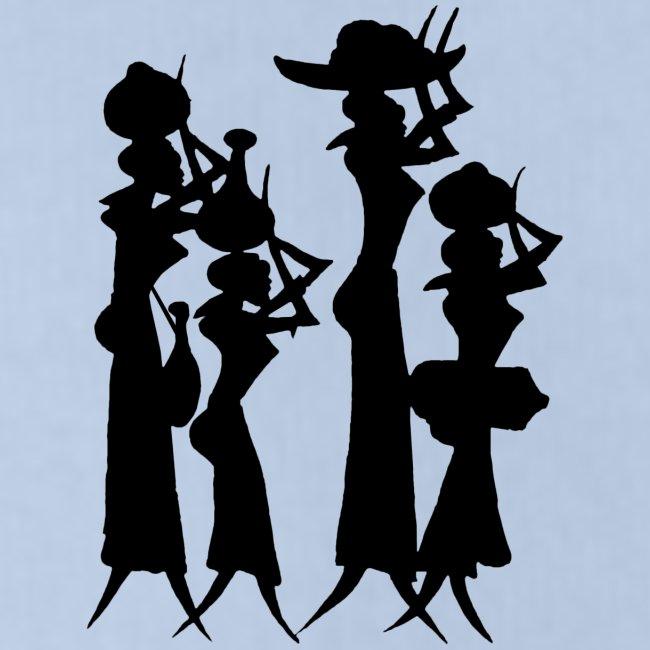 4 Women Isolated Black