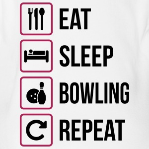 Eat Sleep Bowling Repeat - Organic Short-sleeved Baby Bodysuit