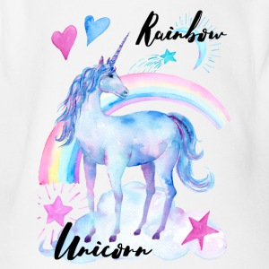 Rainbow Unicorn / Rainbow Unicorn - Organic Short-sleeved Baby Bodysuit
