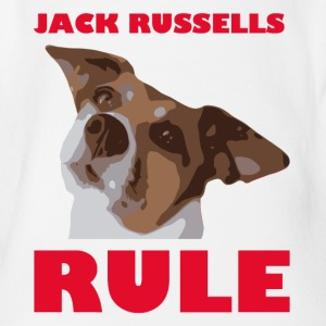 Jack russels rule2 red - Organic Short-sleeved Baby Bodysuit