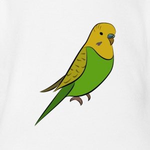 Budgerigar - Green Yellow Welli - Organic Short-sleeved Baby Bodysuit