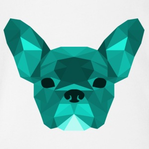 ciano Low Poly Frenchie - Body ecologico per neonato a manica corta