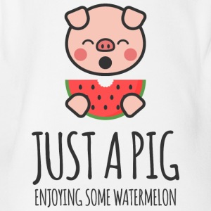 Just A Pig Enjoying Some Watermelon - Baby Bio-Kurzarm-Body