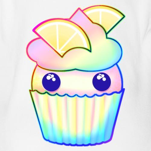 citron muffins färgad som en regnbåge med blå ögon - Organic Short-sleeved Baby Bodysuit