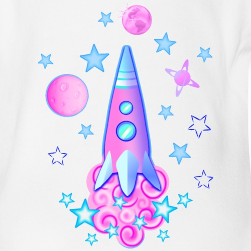 pink space rocket with stars and planets - Organic Short-sleeved Baby Bodysuit