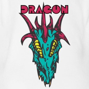 dragon head 2 color - Organic Short-sleeved Baby Bodysuit