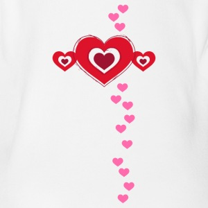 Valentine heart in love love luck Flirt - Organic Short-sleeved Baby Bodysuit