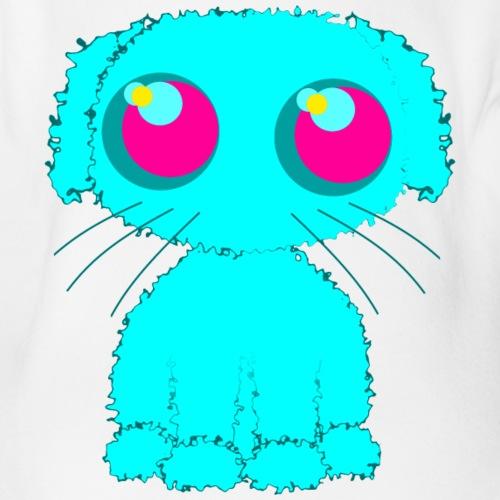 Dog, turquoise puppy with big pink eyes - Organic Short-sleeved Baby Bodysuit