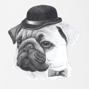 Pug with bowler - Organic Short-sleeved Baby Bodysuit