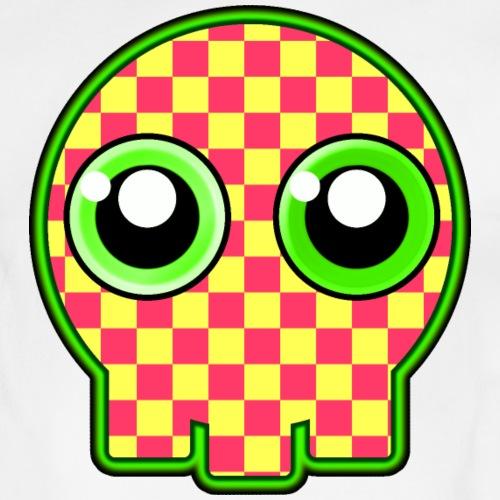 gullig dödskalle med gröna ögon - Organic Short-sleeved Baby Bodysuit