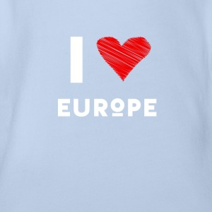 I Love Europe eu heart red love fun statement Demo - Organic Short-sleeved Baby Bodysuit