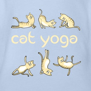 Cat cat yoga meditation namaste cute humor l - Organic Short-sleeved Baby Bodysuit
