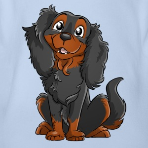 Cavalier King Charles - Black Fire - Organic Short-sleeved Baby Bodysuit