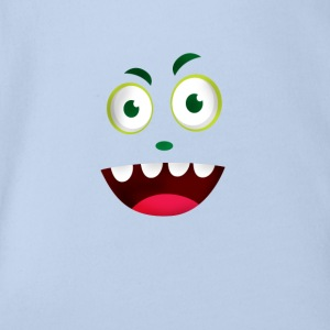 Comic face laugh mouth grin Humor Fun tooth - Organic Short-sleeved Baby Bodysuit