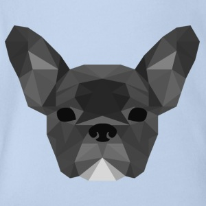 grigio Low Poly Frenchie - Body ecologico per neonato a manica corta