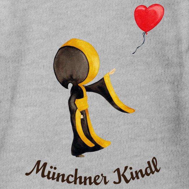 Münchner Kindl mit Herz-Luftballon und Text dunkel