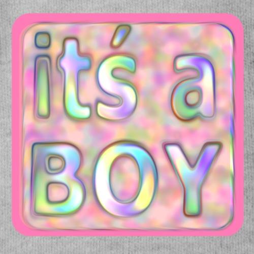 its a boy rosa text skylt - Organic Short-sleeved Baby Bodysuit