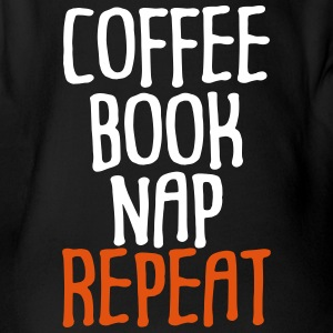 Coffee Book Nap Repeat Humor - Organic Short-sleeved Baby Bodysuit