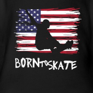 born to skate usa flagge board halfpipe cool fun12 - Baby Bio-Kurzarm-Body