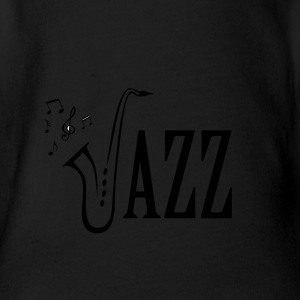 Cool Jazz Music Shirt, Saxophone and Musical notes - Organic Short-sleeved Baby Bodysuit