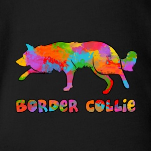 Border Collie Rainbow sky - Organic Short-sleeved Baby Bodysuit