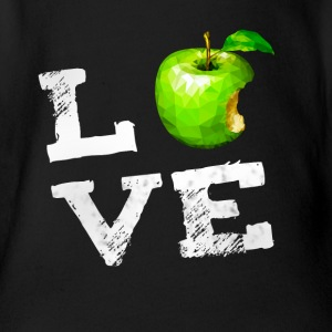 Love apple apple vegan pc nerd geek humor Fruits g - Organic Short-sleeved Baby Bodysuit