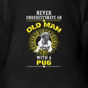 Old man with a pug - Organic Short-sleeved Baby Bodysuit