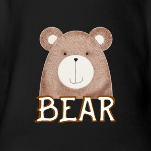 Bear cute brown face bearded cuddly animal il - Organic Short-sleeved Baby Bodysuit